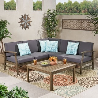 Link to Perla Acacia Wood Outdoor 5-seater Sectional Sofa Set Similar Items in Outdoor Sofas, Chairs & Sectionals