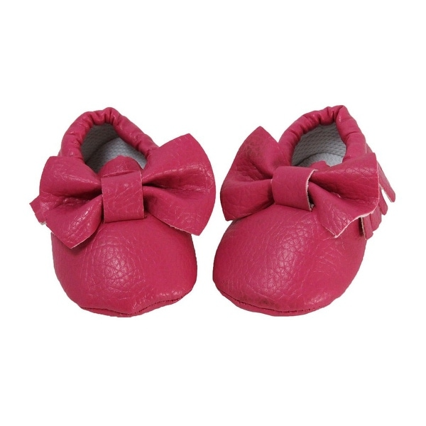 Baby Girls Dark Pink Fringe Bow Soft Sole Moccasin Crib Shoe 0-12M