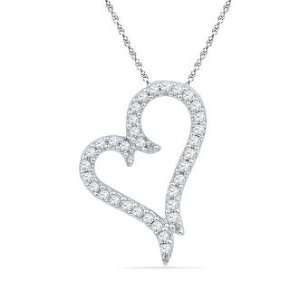 Heart Pendant 10K Rose-gold With Diamonds 0.1 Ctw By MidwestJewellery - White