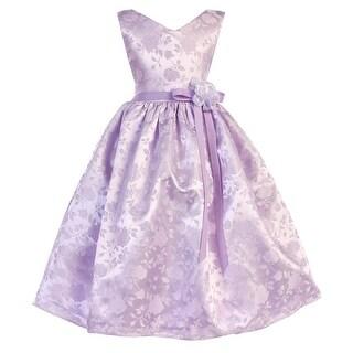 Little Girls Lavender Floral Bow Accent Rose Jacquard Flower Girl Dress
