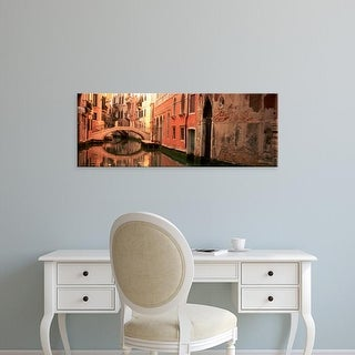 Easy Art Prints Panoramic Images's 'Reflection Of Buildings In Water, Venice, Italy' Premium Canvas Art