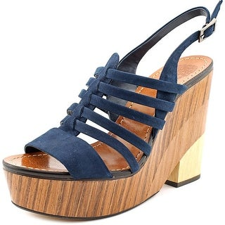 Vince Camuto Onia Women  Open Toe Suede Blue Wedge Sandal