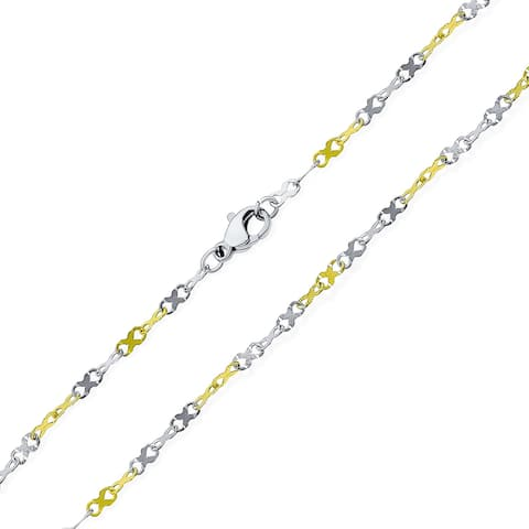 Thin Delicate Tri Tone Twist Infinity Chain Necklace For Women Teens - Multi-color
