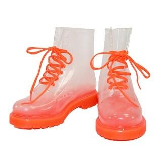 Cecilia Undercover Women's Neon Orange Totally Jelly Clear Rain Boots