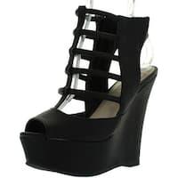 Betani Edith-5 Women Fashion Cage Strappy Peep Toe Zipper Platform Wedge Sandal - Black