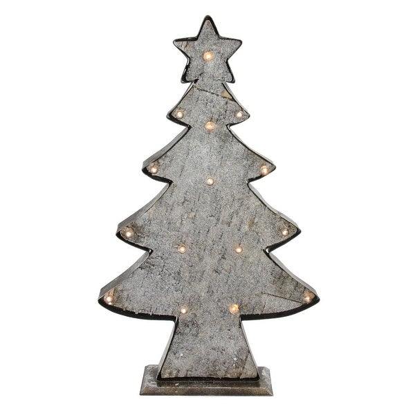 "26.5"" Country Style Rustic Distressed LED Battery Operated Christmas Tree Tabletop"
