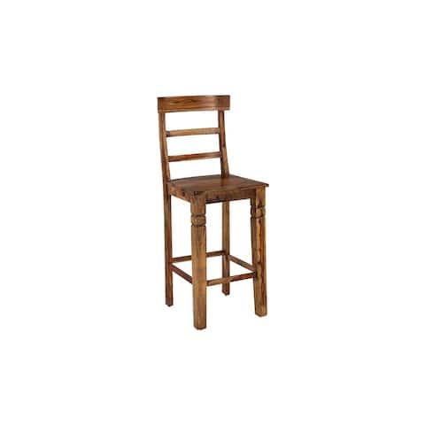 "Porter Designs Taos Traditional Solid Sheesham Wood 30"" Bar Chair, Harvest - N/A"
