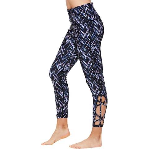 Gaiam Womens Lana Athletic Leggings High Rise Fitness - Black Tap Shoe/Parker Print
