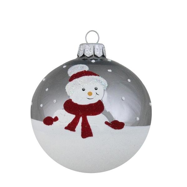 "Alpine Chic Pearl Gray Decorative Snowman Design Glass Christmas Ball Ornament 3.25"" (80mm)"
