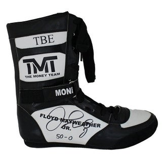 Floyd Mayweather Jr Autographed TMT TBE Black Right Boxing Shoe 500 BAS