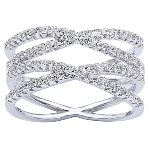 Silver Double 'X' CZ Infinity Criss Cross Ring by Simon Frank Designs