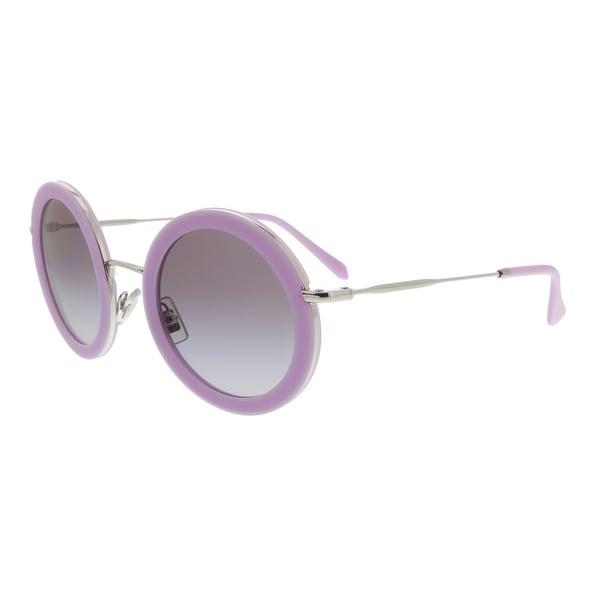 5eb6c32a9151 Shop Miu Miu MU 59US 136300 Opal Lilac Round Sunglasses - 48-26-140 ...