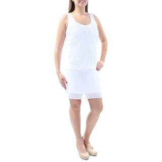 Womens White Sleeveless Above The Knee Party Dress Size: 8