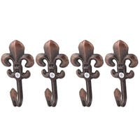 Metal Wall Mounted Curtain Tassel String Holder Hook Hanger Copper Tone 4pcs - bronze