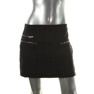 Zara Womens Plaid Zippers Mini Skirt - L