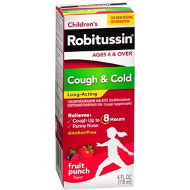 Robitussin Children's Cough & Cold Long-Acting Liquid Fruit Punch 4 oz