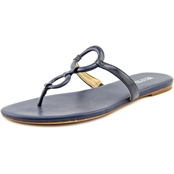 Michael Michael Kors Claudia Flat Sandal Women Open Toe Blue Thong Sandal