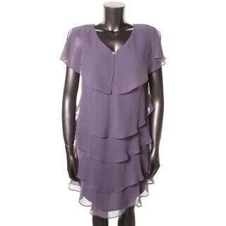 Patra Womens Petites Tiered Sleeveless Evening Dress