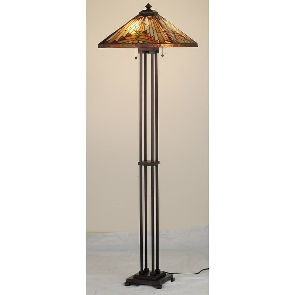 Meyda Tiffany 66228 Stained Glass / Tiffany Floor Lamp from the Mission Collection