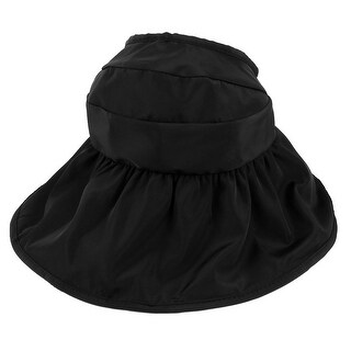 Woman Summer Roll Up Wide Floppy Brim Foldable Visor Cap Sun Protector Hat Black