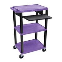 """OF-WTPS42PE-B - Offex 42"""" Three Flat Shelves AV Electric Cart with Pullout - Black Legs, Purple"""