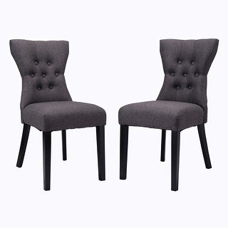 Costway 2PCS Dining Chair Modern Elegant Chair Home Kitchen Living Room Furniture Gray