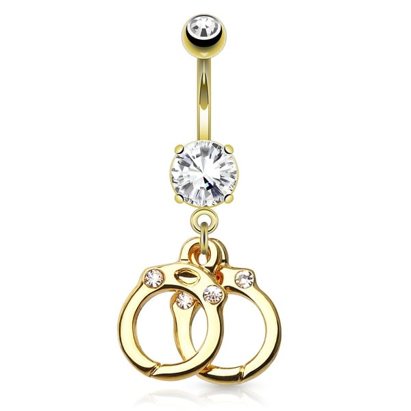 cdc338149b74f {Clear} Hand Cuffs With Gems gold-plated Dangle Navel Ring