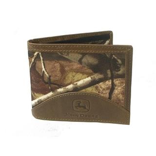 John Deere Western Wallet Mens Leather Pass Case Tan Camo - One size