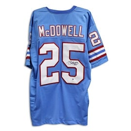 Bubba McDowell Houston Oilers Autographed Blue Jersey