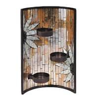 "11"" White and Black Glossy Finished Decorative Sunflower Mosaic Candle Holder"