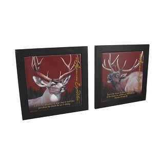 Set of 2 Elk and Mule Deer Wildlife Wood Framed Ceramic Tile Trivets