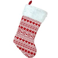 "15"" Red and White Heart and Snowflake Knit Christmas Stocking with White Faux Fur Cuff"