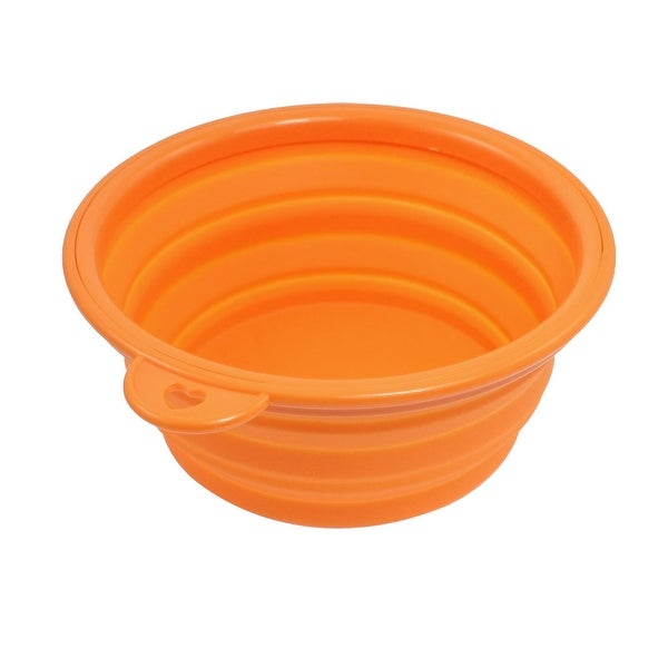 Silicone Adjustable 3 Heights Pet Dog Cat Food Water Bowl Orange
