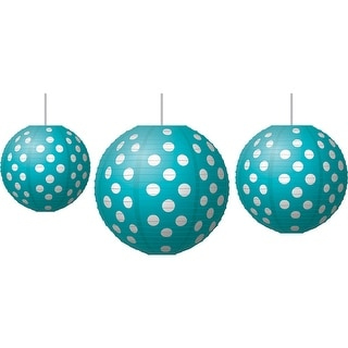 Paper Lanterns Teal Polka Dots