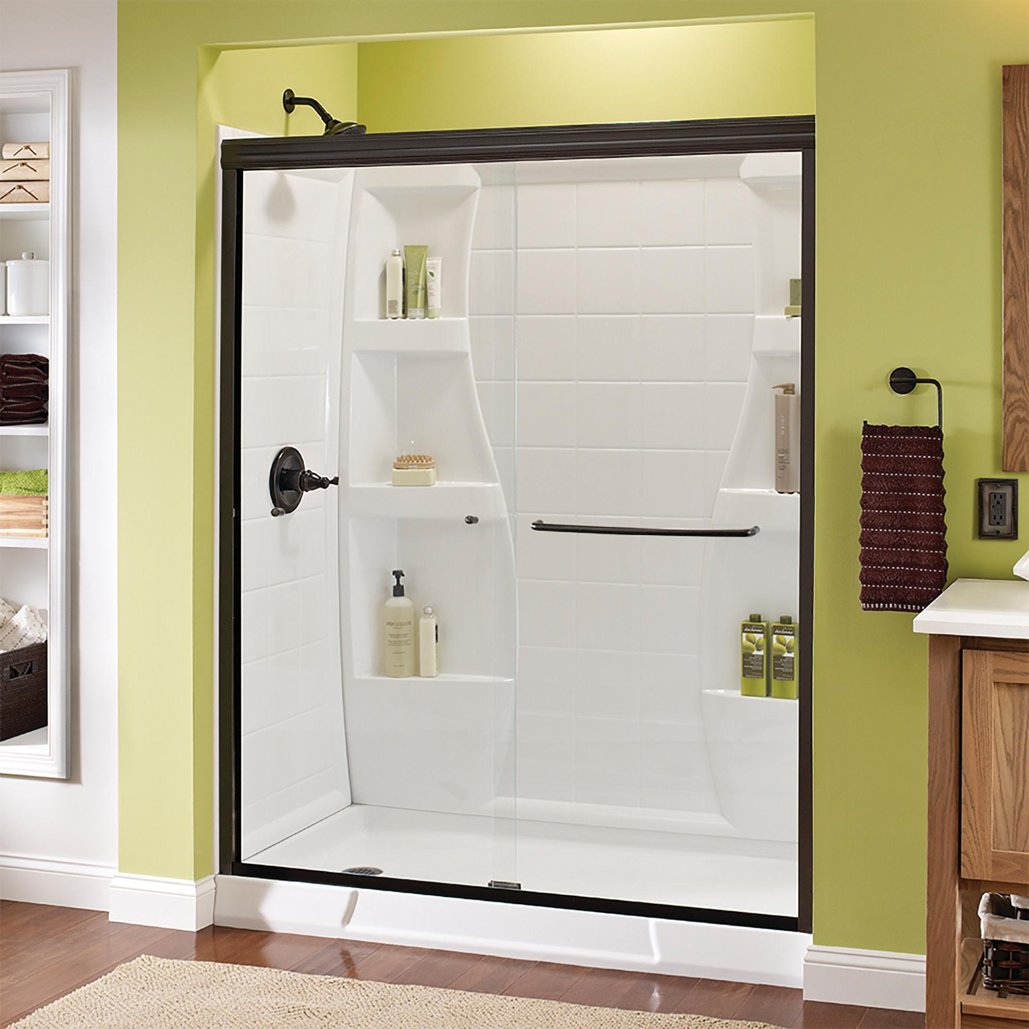 Delta Sd3956978 Classic 70 High X 59 3 8 Wide Sliding Semi Frameless Shower Door With Clear Glass Bronze