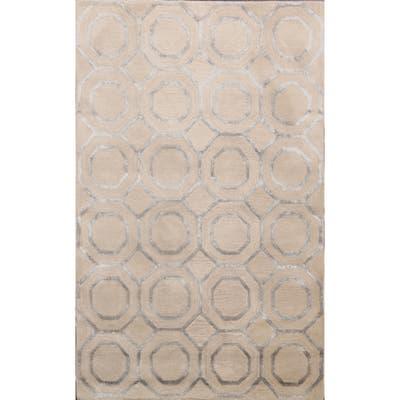 "Geometric Trellis Wool/ Silk Oriental Modern Area Rug Hand-Tufted - 4'0"" x 6'0"""