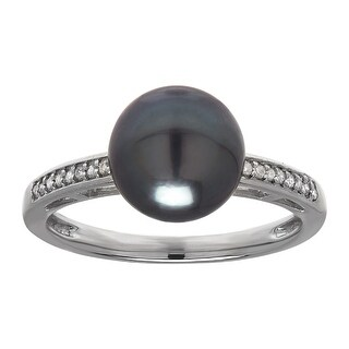 Cultured Tahitian Pearl Ring with Diamonds in 14K White Gold - Grey