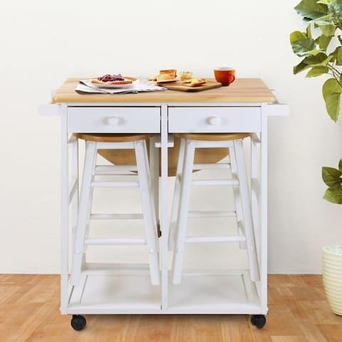 Semicircle White Solid Wood Folding Dining Cart with 2 Stools