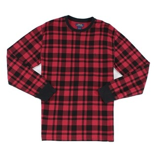 Polo Ralph Lauren NEW Red Black Men Medium M Sleepwear Plaid Nightshirt