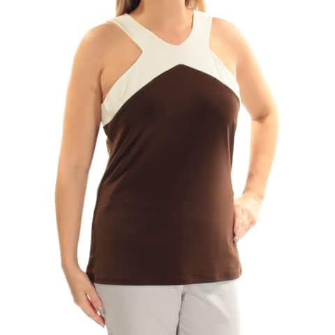Ralph Lauren Womens Brown Sleeveless V Neck Top Size: L