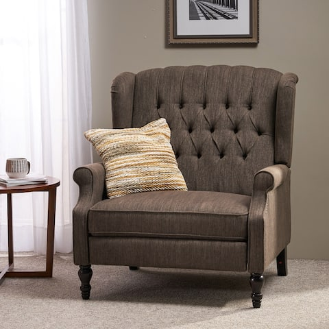 Apaloosa Oversized Tufted Wingback Fabric Push Back Recliner by Christopher Knight Home
