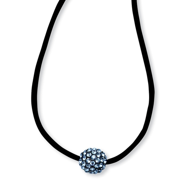 Black IP Blue Crystal Fireball on Satin Cord Necklace - 16in
