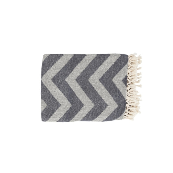 "50"" x 70"" Wavy Horizons Gray and Snow White Tassel and Fringe Throw Blanket"