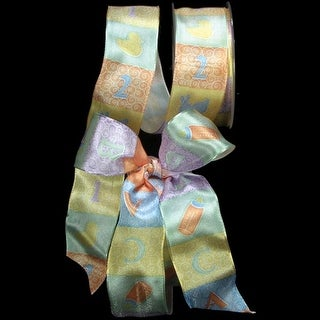 """Soft Colored 123 Print Wired Craft Ribbon 1.5"""" x 27 Yards"""