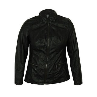 Alfani Women's Faux Leather Quilted Jacket