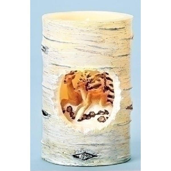 """5"""" Winter Wonderland Deer Birch Distressed Battery Operated Flameless LED Candle - WHITE"""