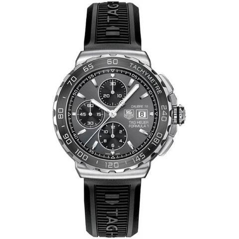 Tag Heuer Men's CAU2010.BT0717 'Formula 1' Chronograph Black Rubber Watch - Grey
