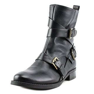 Nine West Trentao Women Round Toe Leather Black Mid Calf Boot