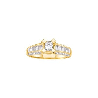 1 Ctw Diamond Ladies Bridal Engagement Ring With 3/8Ct Princess-Cut Center 14K Yellow-Gold