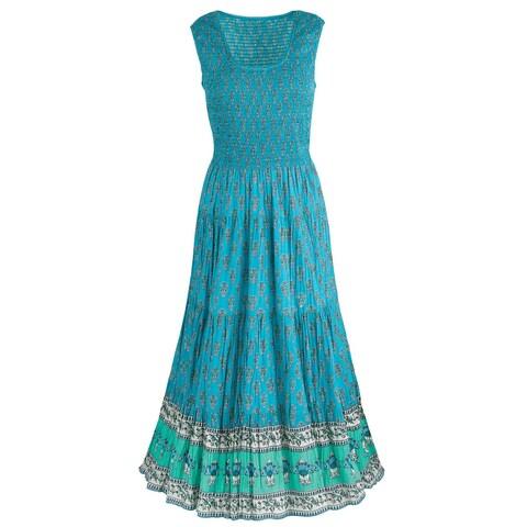 Catalog Classics Women's Tasha Teal Sun Dress - Sleeveless Border Print Gown